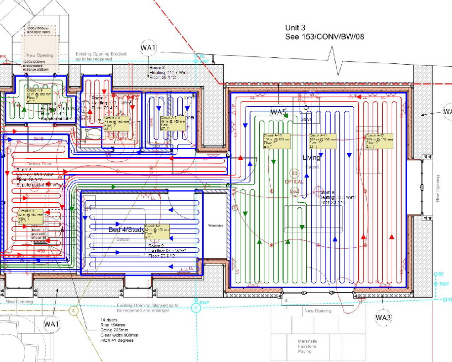 We fully design underfloor heating to suit the heating source.  We also install as drawing